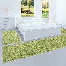 Bettumrandung Teppich Fine Shaggy Hochflor Flokati Wohnzimmer Günstig Grün 2x70x140 cm & 1x 70x250 cm