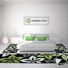 Bettumrandung Teppich-Läufer Flachflor Kurzflor Moda mit Blumen-Muster in Grün, Schwarz, Grau, Weiß für Schlafzimmer, 3-teilig, Läufer-Größen: 2x 80x150 cm, 1x 80x300 cm