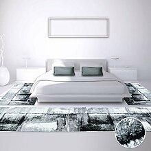 Bettumrandung Teppich-Läufer Flachflor Kurzflor Moda mit Modern, Melierten Design in Grau, Schwarz, Weiß für Schlafzimmer, 3-teilig, Läufer-Größen: 2x 80x150 cm, 1x 80x300 cm
