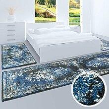 Bettumrandung, Teppich-Läufer Flachflor mit Klassischen Design, Ornamenten-Muster in Schwarz/ Blau für Schlafzimmer, 3-teilig, Läufer-Größen: 2x 80x150 cm, 1x 80x300 cm