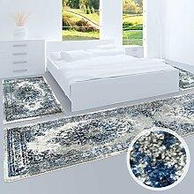 Bettumrandung, Teppich-Läufer Flachflor mit Klassischen Design, Ornamenten-Muster in Grau/ Blau für Schlafzimmer, 3-teilig, Läufer-Größen: 2x 80x150 cm, 1x 80x300 cm