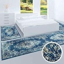 Bettumrandung, Teppich-Läufer Flachflor mit Klassischen Design, Ornamenten-Muster in Blau/ Grau für Schlafzimmer, 3-teilig, Läufer-Größen: 2x 80x150 cm, 1x 80x300 cm