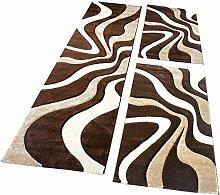 Bettumrandung Teppich Läufer Muster Modern in Braun Beige Creme Läuferset 3 Tlg, Grösse:2mal 80x150 1mal 80x300