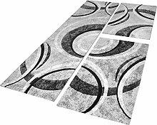 Bettumrandung Teppich mit Konturenschnitt Grau Schwarz Creme Läuferset 3 Tlg., Grösse:2mal 80x150 1mal 80x300