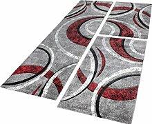 Bettumrandung Teppich mit Konturenschnitt Grau