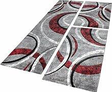 Bettumrandung Teppich mit Konturenschnitt Grau Schwarz Rot Läuferset 3 Tlg, Grösse:2mal 80x150 1mal 80x300