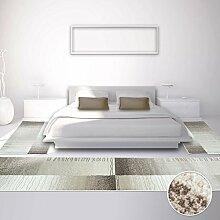 Bettumrandung Teppich Modern Designer Läufer Inspiration Karo Beige 2x 80x150cm & 1x 80x300cm
