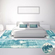 Bettumrandung Teppich Modern Läufer Inspiration Vintage Pastel-Blau 2x 80x150cm & 1x 80x300cm