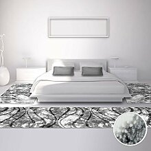 Bettumrandung Teppich Modern Läufer Inspiration Welle Grau Creme 2x 80x150cm & 1x 80x300cm