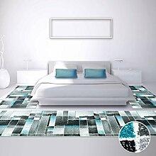 Bettumrandung Teppich Modern Läufer Moda Fliesen 2x 80x150cm & 1x 80x300 cm NEU, Farbe:Türkis