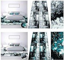 Bettumrandung Teppich Modern Läufer Moda Mamor Türkis Schwarz 2x80x150& 1x80x300, Farbe:Schwarz