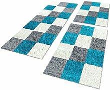 Bettumrandungen 3 tlg. Läufer-Set kariert designer Hochflor Shaggy Teppiche 1501, Farbe:Türkis, Maße:2mal 60x110 1mal 80x150