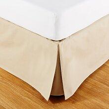Bettvolant aus beiger Baumwolle 180x200