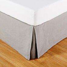 Bettvolant aus grauer Baumwolle 180x200