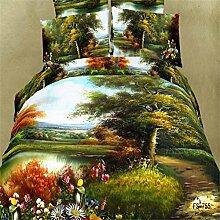 Bettw?sche aus Baumwolle K?per vier Set 3D Abdeckung Rosen Set von idyllischen Riesenrad 4 Betten , green , 200*230cm