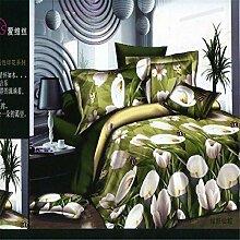 Bettw?sche aus Baumwolle K?per vier Set 3D Abdeckung Rosen Set 4 Bett Meer Swan Lily , lily , 200*230cm