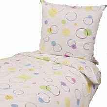 Bettwäsche 135x200 80x80 cm, Bunte Kreise Punkte Tupfen auf Weiß, Baumwolle, Bettwäschegarnitur, Bettbezug, Bettgarnitur, Bettwäscheset, Jugendbettwäsche, Kinderbettwäsche