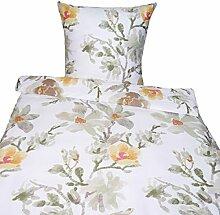 Bettwäsche 135x200 80x80 cm, Flower Blumen, Baumwolle Satin, Geblümt, Bettgarnitur, Bettbezug