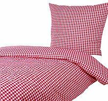Bettwäsche 135x200 80x80 cm, Karo 1x1 cm, 52% Baumwolle und 48% Polyester, pflegeleicht, Bettbezug, Bettwäschegarnitur, Bettwäscheset (Rot)