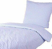 Bettwäsche 135x200 80x80 cm, Karo 1x1 cm, Hellblau, 100% Baumwolle, Reißverschluss, kariert, Bettbezug, gewebt, Karomuster, Bettgarnitur, Bettwäscheset, Bettwäschegarnitur