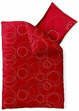 Bettwäsche 135x200 Baumwolle, Trend Chara Kreise Punkte weiß rot grau aqua-textil 0011711