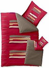 Bettwäsche 135x200 Baumwolle, Trend Helina uni Streifen rot grau beige Wendedesign aqua-textil 0011717