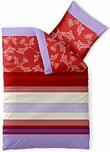 Bettwäsche 135x200 Baumwolle, Trend Imara Streifen Blumen rot lavendel creme aqua-textil 0011718