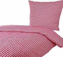 Bettwäsche 155x220 80x80 cm, Karo 1x1 cm, Rot, 100% Baumwolle, Reißverschluss, kariert, Bettbezug, gewebt, Karomuster, Bettgarnitur, Bettwäscheset, Bettwäschegarnitur