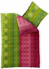 Bettwäsche 155x220 Baumwolle, Trend Dafina Streifen Kreise grün pink aqua-textil 0011725