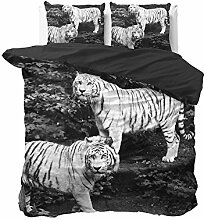 Bettwäsche 2Sitzer Tiger schwarz und weiß
