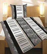 BETTWÄSCHE 2 TEILIG MICROFASER 155x220 Zebra