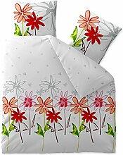 Bettwäsche 200x200 Baumwolle, Trend Ayana Blumen weiß grau rot aqua-textil 0011734