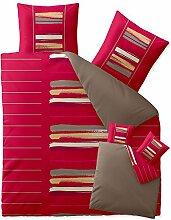 Bettwäsche 200x200 Baumwolle, Trend Helina uni Streifen rot grau beige Wendedesign aqua-textil 0011741