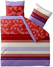 Bettwäsche 200x200 Baumwolle, Trend Imara Streifen Blumen rot lavendel creme aqua-textil 0011742