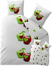 Bettwäsche 200x220 Baumwolle, Trend Tamea weiß grün Äpfel Herz Wendedesign aqua-textil 0011757