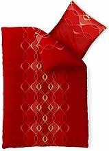 Bettwäsche 2tlg 155x200 Baumwolle Set Kopfkissen Bettbezug Reißverschluss atmungsaktiv Bett Garnitur 80x80 Kissen Bezug CelinaTex 0003317 Fashion Lara rot gold gelb