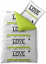 Bettwäsche 2tlg 155x200 Baumwolle Set Kopfkissen Bettbezug Reißverschluss atmungsaktiv Bett Garnitur 80x80 Kissen Bezug CelinaTex 5000397 Fashion Linda grau grün weiß
