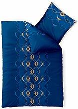 Bettwäsche 2tlg 155x220 Baumwolle Set Kopfkissen Bettbezug Reißverschluss atmungsaktiv Bett Garnitur 80x80 Kissen Bezug CelinaTex 0003330 Fashion Leah blau türkis gelb