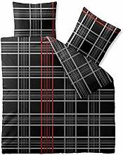 Bettwäsche 3 teilig 200x200 Baumwolle atmungsaktiver weicher Bettbezug 80x80 Kissen Bett Garnitur waschbar, CelinaTex Schwarz grau anthrazit Rot weiß Karo CelinaTex 0003334 Fashion Bianca …
