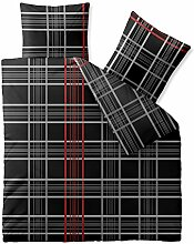 Bettwäsche 3tlg 200x200 Baumwolle Set Kopfkissen Bettbezug Reißverschluss atmungsaktiv Bett Garnitur 80x80 Kissen Bezug CelinaTex 0003334 Fashion Bianca schwarz weiß rot grau anthrazit Karo