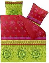 Bettwäsche 3tlg 200x200 Baumwolle Set Kopfkissen Bettbezug Reißverschluss atmungsaktiv Bett Garnitur 80x80 Kissen Bezug CelinaTex 0002668 Fashion Lindsay grün rot pink