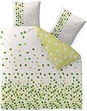 Bettwäsche 3tlg 200x200 Baumwolle Set Kopfkissen Bettbezug Reißverschluss atmungsaktiv Bett Garnitur 80x80 Kissen Bezug CelinaTex 0003343 Fashion Ilona weiß grün Punkte