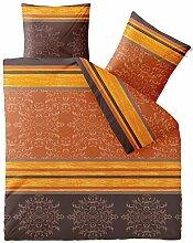 Bettwäsche 3tlg 200x220 Baumwolle Set Kopfkissen Bettbezug Reißverschluss atmungsaktiv Bett Garnitur 80x80 Kissen Bezug CelinaTex 0002674 Fashion Natalie grau beige braun
