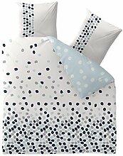 Bettwäsche 3tlg 200x220 Baumwolle Set Kopfkissen Bettbezug Reißverschluss atmungsaktiv Bett Garnitur 80x80 Kissen Bezug CelinaTex 0003356 Fashion Iris weiß blau Punkte Kreise