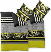Bettwäsche 4 teilig 135x200 Mikrofaser Set, Kopfkissen und Bettbezug mit Reißverschlüsse, atmungsaktive Bett Garnitur mit 80x80 Kissen Bezug, Öko-tex waschbar, Blumen Streifen grau schwarz grün, Harmony CelinaTex 6000165 Jolien