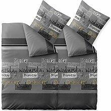 Bettwäsche 4 tlg 135x200 Baumwolle atmungsaktiv weicher Bettbezug Kissen Bett Garnitur Reißverschluß Öko-tex CelinaTex 6000353 Fashion Crazy grau anthrazit schwarz