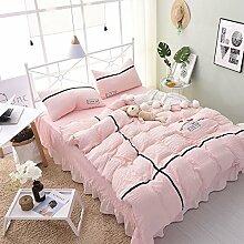 Bettwäsche 4pcs Satz von Wasser gewaschen Baumwolle 1.8m Bett Rock einfache Prinzessin Bettdecke Bettwäsche