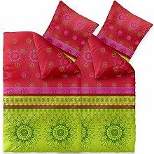 Bettwäsche 4tlg 135x200 Baumwolle Set Kopfkissen Bettbezug Reißverschluss atmungsaktiv Bett Garnitur 80x80 Kissen Bezug CelinaTex 0003720 Fashion Lindsay grün rot pink