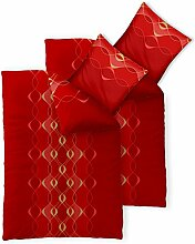Bettwäsche 4tlg 135x200 Baumwolle Set Kopfkissen Bettbezug Reißverschluss atmungsaktiv Bett Garnitur 80x80 Kissen Bezug CelinaTex 0003961 Fashion Lara rot gold gelb