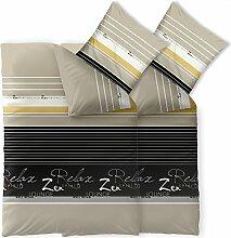 Bettwäsche 4tlg 135x200 Baumwolle Set Kopfkissen Bettbezug Reißverschluss atmungsaktiv Bett Garnitur 80x80 Kissen Bezug CelinaTex 0003725 Fashion Lian grau schwarz beige natur weiß Streifen Schrift Tex